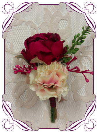 Gents / mens wedding flower button / boutonniere in raspberry