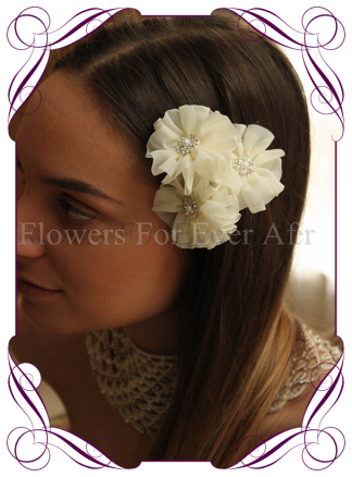Ivory fabric flower pearl and bling hair pins. Made in Melbourne. Shipping world wide