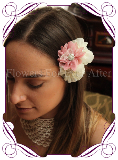 Pink and Ivory fabric flower pearl and bling hair pins. Made in Melbourne. Shipping world wide