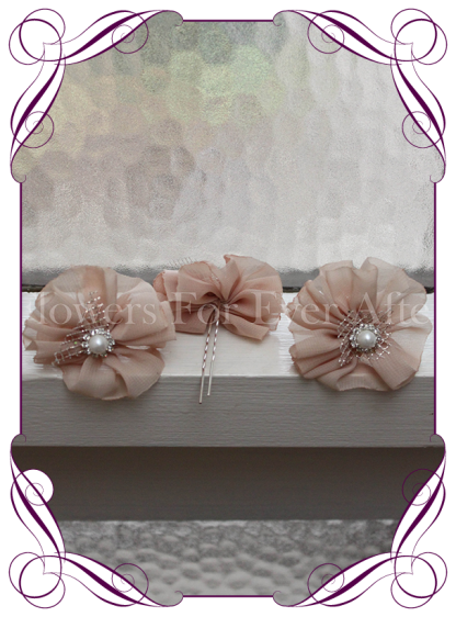Champagne fabric flower pearl and bling hair pins. Made in Melbourne. Shipping world wide