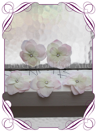 Blush pink hydrangea flower and bling hair pins. Made in Melbourne. Shipping world wide