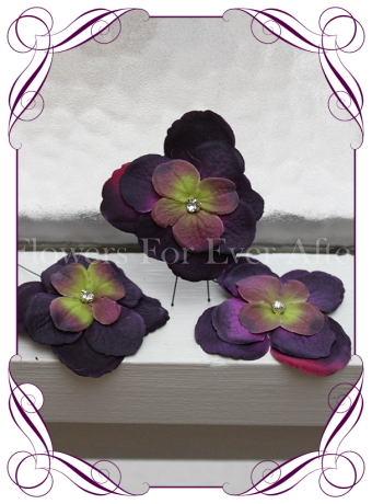 Eggplant dark purple hydrangea flower and bling hair pins. Made in Melbourne. Shipping world wide