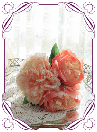 coral apricot peony artificial silk wedding bouquet flowers. A simple posy style that can be held by bridesmaids or used as a table decoration for an engagement, birthday, kitchen tea or wedding event.