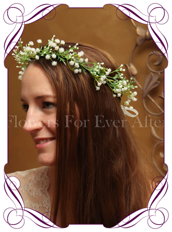 Silk artificial baby's breath crown perfect for rustic and boho weddings