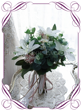 Silk artificial bridesmaids posy with white clematis, blush pink lilacs and Australian native gum and eucalypt.