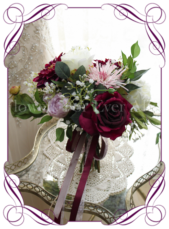 burgundy, pink and lilac purple, rustic boho whimsical bridal silk wedding bouquet. Artificial posy of roses, peonues, baby's breath and unique chrysanthemum