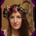 Burgundy, pink and plum silk artificial flower crown / halo.
