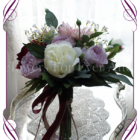 burgundy, pink and lilac purple, rustic boho whimsical bridesmaids silk wedding bouquet. Artificial posy of roses, peonues, baby's breath and unique chrysanthemum