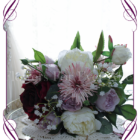 burgundy, pink and lilac purple, rustic boho whimsical bridesmaids silk wedding bouquet. Artificial posy of roses, peonues, baby's breath and unique chrysanthemum.