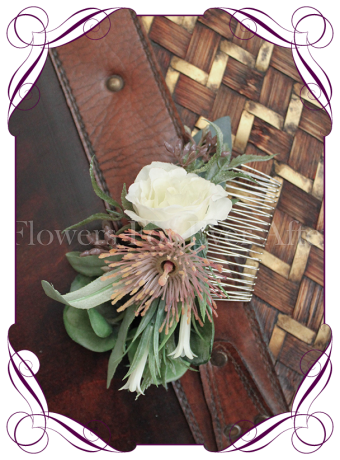 Australian native blush and ivory silk flower wedding hair comb.