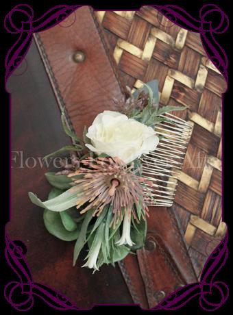 Australian native blush and ivory silk flower wedding hair comb.