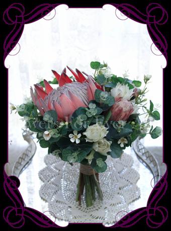 Australian native silk artificial protea and gum bridal bouquet design. Made in Melbourne. Shipping worldwide