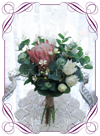 Australian native silk artificial protea and gum bridesmaid bouquet design. Made in Melbourne. Shipping worldwide