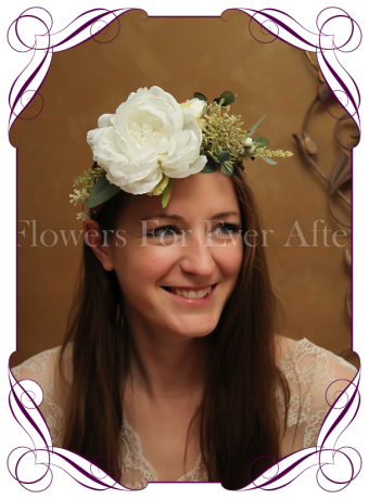 Silk artificial white peony floral crown / halo with Australian Native foliage