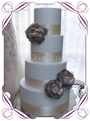 Silver and blush handmade fabric flower and bling cake decoration / topper