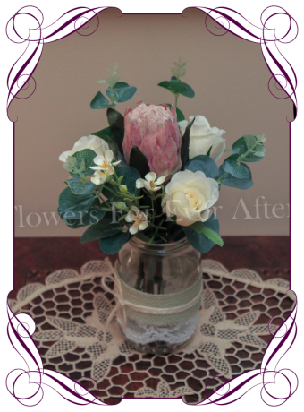 Rustic Australian native gum foliage and protea with roses, small table posy bunch, ideal for mason jar and rustic wedding decoration