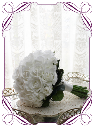 Silk artificial white rose and buds wedding bridesmaid / bridal bouquet in an elegant design. Made in Melbourne. Shipping world wide