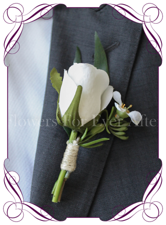 rustic white silk wedding flower gent / groomsmens button boutonniere. Rose and foliage