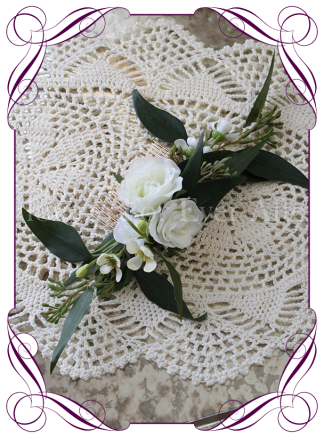 Silk artificial bridal hair comb / head piece with silk white roses, Australian native wax flowers and seeded gum leaves. Made in Melbourne, ship worldwide.