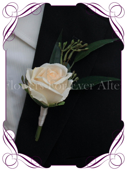 rustic champagne cream silk wedding flower gent / groomsmens button boutonniere. Rose and native gum foliage