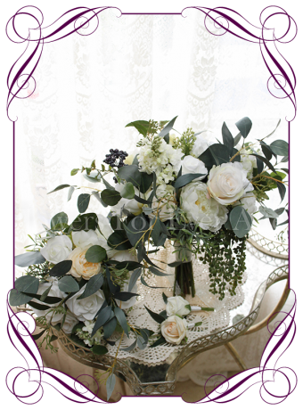 Cascading posy bridal silk artificial posy bouquet set / package. With white rose, lilacs, peonies, cream ranunculi, navy blue berries and Australian native foliage. Made in Melbourne, shipping worldwide.