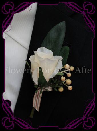 rustic ivory cream silk wedding flower gent / groomsmens button boutonniere. Rose and native gum foliage