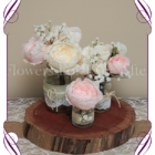Blush pink and cream peony and baby's breath-rustic-style-silk-artificial-table-centrepiece-posy-for-wedding-table-decoration-mason-jar