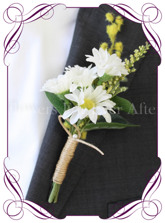Daisy-silk-artificial-rustic boho Groom-mens-gents-button-daisies wattle twine Australian-native-foliage-rustic