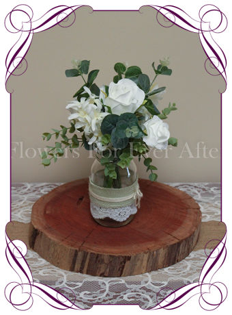 White-rustic-style-silk-artificial-table-centrepiece-posy-for-wedding-table-decoration-mason-jar