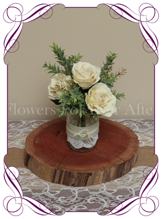 Cream and green foliage-rustic-style-silk-artificial-table-centrepiece-posy-for-wedding-table-decoration-mason-jar