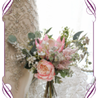 Elegant rustic wedding posy with artificial silk pink protea and Australian native foliage and baby's breath. Bridesmaids bouquet. Made in Melbourne. Shipping worldwide.