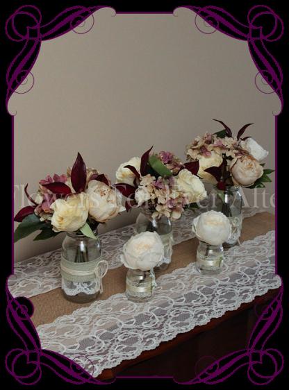 vintage pastel and burgundy rose and hydrangea silk artificial flower wedding table centrepiece decoration, mason jar rustic flowers