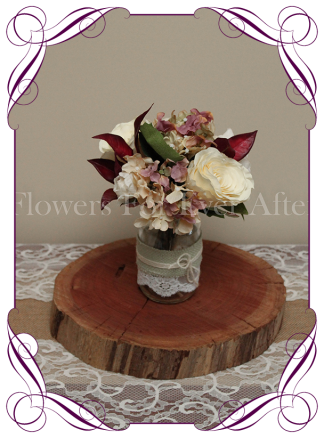 vintage pastel and burgundy rose and hydrangea silk artificial flower wedding table centrepiece decoration, mason jar rustic flowers
