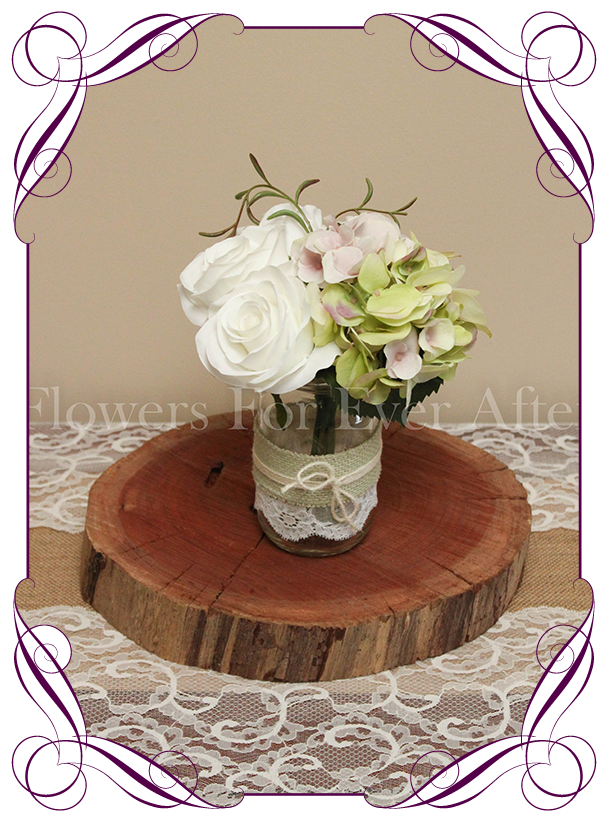 White green mauve table posy flowers for ever after