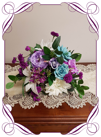 Silk artificial bridal rustic posy multicolour bouquet in lilac, aqua / turquoise, white and bright pinks. Colourful / colorful wedding themes. Buy online, ship world wide. Made in Melbourne