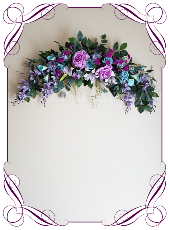 Aqua teal, pink and lilac multicolour silk artificial wedding arbor arch and table garland decoration. Made in Australia. Buy online.