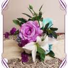 Silk artificial bridesmaids bouquet in lilac, aqua / turquoise, white and bright pinks. Buy online, ship world wide. Made in Melbourne
