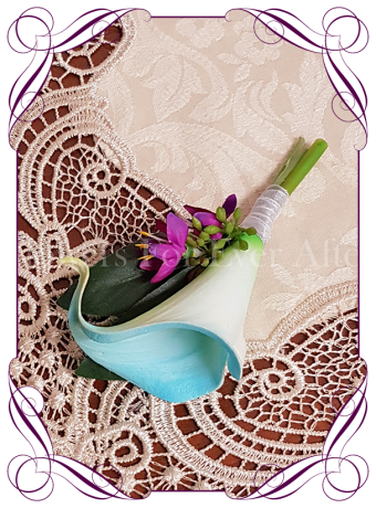rustic aqua turquoise and magenta pink silk wedding flower gent / groomsmens button boutonniere. Calla lily and native gum foliage