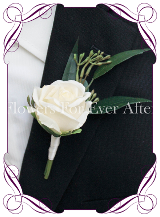 white artificial silk mens button wedding rose