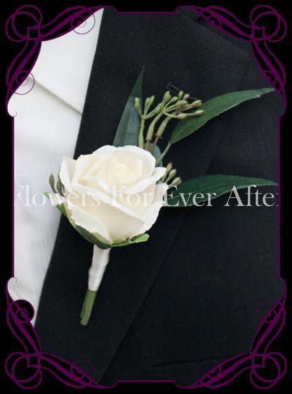 white artificial silk mens button wedding rose