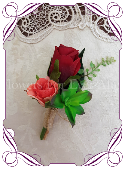 red, coral and succulent tropical mens wedding boutonniere, silk grooms button