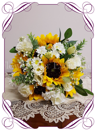Silk artificial sunflower and white daisy boho country rustic bridal wedding bouquet posy. Made in Melbourne. Shipping worldwide