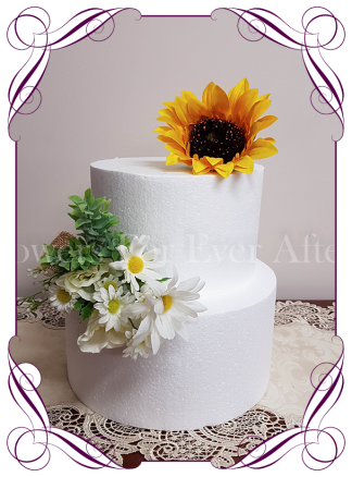 silk artificial rustic daisy and sunflower floral cake decoration / topper