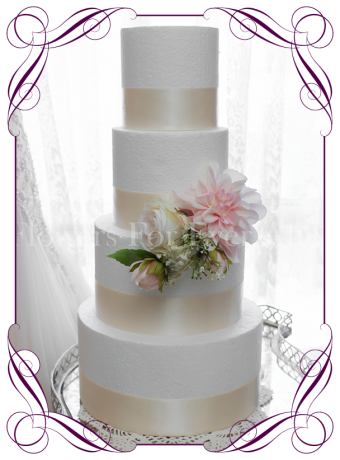 Soft pastel romantic artificial silk wedding cake flowers topper decoration. Blush with babys breath