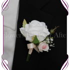 Classic white silk artificial gents wedding formal button boutonniere with blush pink and babys breath