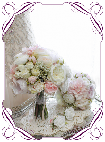 An elegant and romantic silk artificial wedding bridal flower bouquet package / set with pastel colours in blush, lilac, off white / ivory. With peonies, roses, baby's breath / gyp dahlia and gorgeous ranunculi. Classic and sweet. Shipping world wide. Buy online