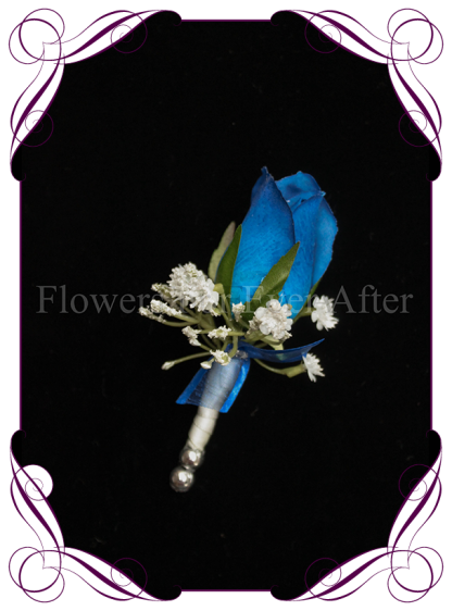 silk artificial real touch royal blue rose and baby's breath / gyp formal / deb / prom / wedding gents grooms button boutonniere . Shipping world wide. Made in Melbourne Australia.