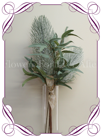 Silk / artificial winter wonderland frosted pine and australian native gum foliage table arrangement / centrepiece. Perfect for winter theme weddings or as a Christmas table decoration.