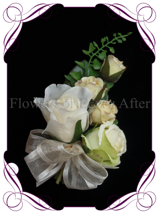 silk artificial ivory rose pin corsage for a formal / deb / prom / wedding ladies pinned corsage . Shipping world wide. Made in Melbourne Australia.
