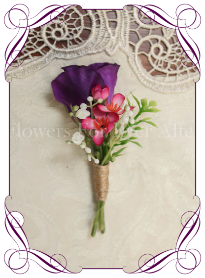 Silk artificial gents boutonniere / wedding button with a bright mix of colourful flowers. Made in Melbourne. Shipping worldwide